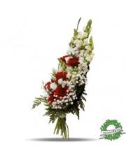Bukiet z czerwonych i białych kwiatów